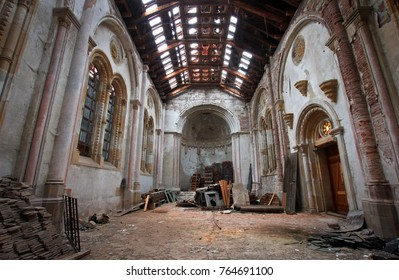 """THURINGIA, GERMANY - NOV 05,2016: Abandoned castle """"Schloss Rapunzel"""", located in Thuringia a few hundred kilometers from Berlin. Beautiful neo-gothic palace. Abandoned church at the castle."""