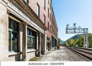 Thurmond, USA - October 19, 2017: Abandoned closed retro vintage building with National Bank sign in West Virginia ghost town village, railroad