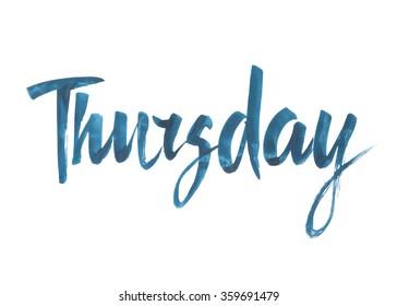 Thursday. Hand written brush typography. Isolated calligraphy design element