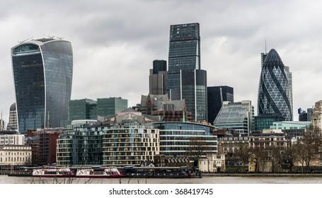 Thwe skyline of the financial quarter of London