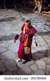 THYANGBOCHE MONASTERY,  NEPAL - NOV 25, 1979 -  Buddhist monk practising dance for Mani Rimdu festival,Khumbu Himalaya,Nepal, Asia