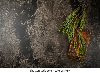 Thyme. Bunch of fresh herb thyme on rusty background