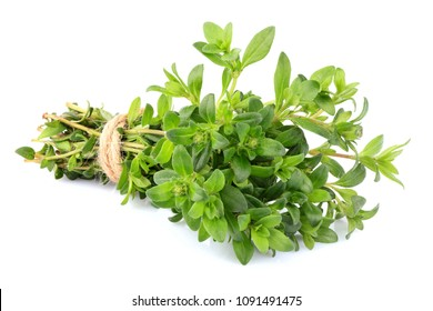 Thyme fresh herb closeup isolated on white background.