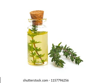thyme oil isolated on white