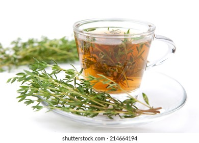 thyme tea with fresh bunches thyme, thyme inside teacup, white background, isolated,