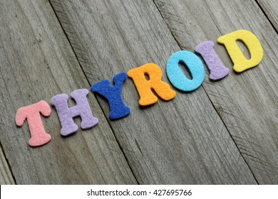 thyroid word on wooden background. medical concept