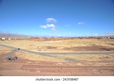 TIAHUANACO, BOLIVIA - SEPTEMBER 3, 2010: Tiahuanaco, an important object of pre-Columbian archaeological site on the high Altiplano plateau in Western Bolivia. Included in the UNESCO list .