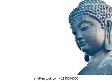 Tian Tan Buddha from in Lantau Island, Hong Kong.design with copy space add text isolated on white background.
