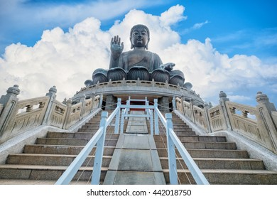 Tian Tan Giant Buddha on big blue sky background