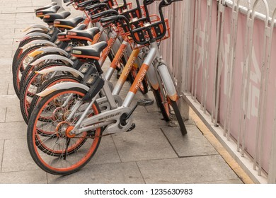TIANJIN, CHINA - 21 OCTOBER 2018: Mobike app controlled bikes in Tianjin China