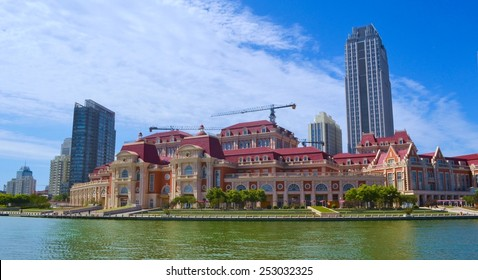 TIANJIN, CHINA, AUGUST 18, 2013: View of the beautiful buildings on a riverside of river hai in tianjin.