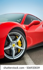 TIANJIN, CHINA - FEB 27, 2016: Close-up shot of a red Ferrari 488 GTB. The Ferrari 488 is produced by the Italian car manufacturer Ferrari since 2015, powered by a 3.9-litre twin-turbocharged V8.