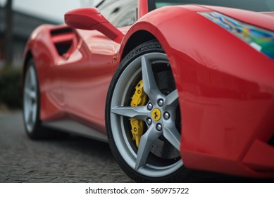 Tianjin, China - Feb 27, 2016: Ferrari 488 GTB. The Ferrari 488 is an Italian sports car produced since 2015, powered by a 3.9-litre twin-turbocharged V8.