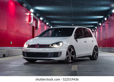 Tianjin, China - Feb 28, 2016: Volkswagen Golf GTI MK6. Built by FAW-VW in China from 2010, it is the first time the GTI is built in China with slightly less power than international models.