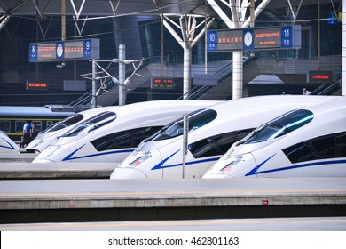 TIANJIN, CHINA - JUL 04, 2016: Tianjin Railway Station for high-speed trains. Hexiehao is a bullet train of CRH (China Railway High-speed).