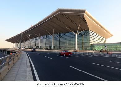 Tianjin - December 14, 2018: Tianjin Binhai International Airport Terminal, Tianjin, China