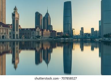 Tianjin Hai river waterfront downtown skyline ,China.