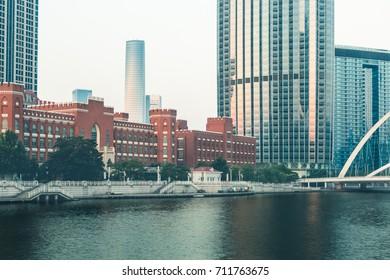 Tianjin Hai river waterfront downtown skyline,China.