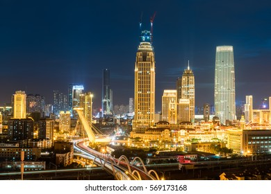 tianjin night scenes, modern buildings and road bridge in business district