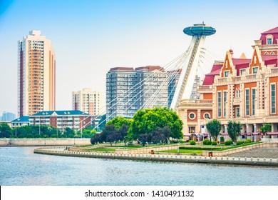 Tianjin skyline. Haihe River and Jinwan Square. Located near Tianjin Railway Station, Tianjin, China.