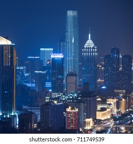 tianjin skyline at night,high angle,china.