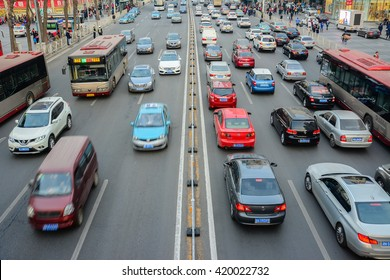 Tianjin,China - March 20,2016 : City traffic, traffic jams, a stream of cars in rush hour in Tianjin city China.