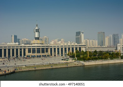 Tianjin,China - October 10, 2016 :  Cityscape of Tianjin railway station  with blue sky background. This station is one of popular modern landmark in Tianjin city.