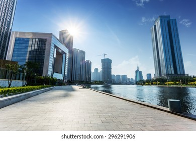Tianjin,China-May 22,2015:modern building exterior with brick road floor in Tianjin at riverbank.