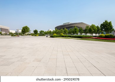 Tianjin,China-May 24,2015:public square with empty road floor in downtown of tianjin.