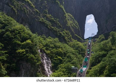 Tianmen, China - May 28, 2017: So called Sky Ladder to the Heavens Gate with built obstacles. On the next day the Carabao Sky Ladder Challenge, the International parkour contest, was held there.