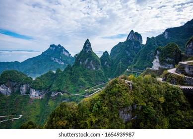 Tianmen, China - November 10th, 2019: Beautiful landscape of Tianmen mountain national park, Hunan province, Zhangjiajie, China