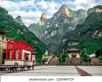 The Tianmen Mountain with a view of the cave Known as The Heaven's Gate and the steep 999 stairs at Zhangjiagie, Hunan Province, China, Asia