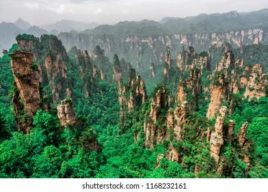 Tianzi Mountain column karst at Wulingyuan Scenic Area, Zhangjiajie National Forest Park, Hunan, China