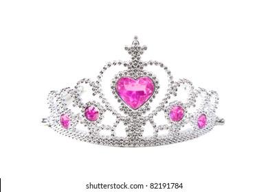 Tiara with pink stones on white