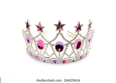 Tiara with pink and violet stones on white
