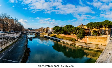 Tiber Island is only island in Tiber river which runs through Rome. Tiber island is located in southern bend of Tiber. Island is boat-shaped, approximately 270 metres long, 67 metres wide.