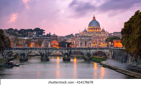 Tiber River and Saint Peter Cathedral in the Evening, Rome, Italy