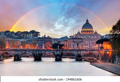 Tiber and St Peter Basilica in Vatican with rainbow, Roma