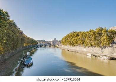 The Tiber (Tevere) river, the third-longest river in Italy, passing through Rome.
