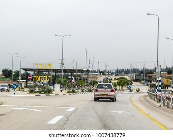 Tiberias, ISRAEL - December 28, 2017: Traveling in Israel crossing the desert area, going to Jerusalem. Control point for the Palestine