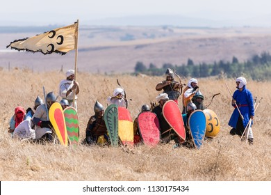 Tiberias, Israel, July 07, 2018 : Reconstruction of Horns of Hattin battle in 1187. Saladin's warriors are preparing to repel the attack of the Crusaders on the battlefield.
