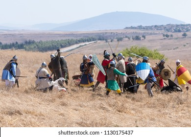 Tiberias, Israel, July 07, 2018 : Reconstruction of Horns of Hattin battle in 1187. Saladin's infantry fights with the infantry of the Crusaders on the battlefield.