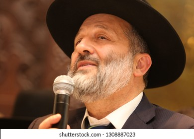 TIBERIAS, ISRAEL - MAY 24, 2018: Israel government minister of interior, Arye Deri, partakes in an evening appointing Rabbi Buchbut as the city Rabbi in Tiberias, Israel