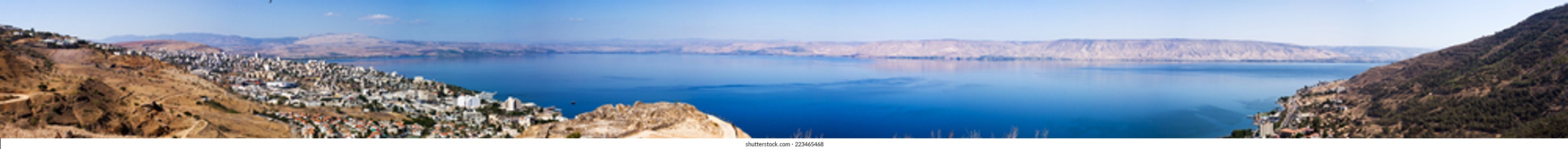 Tiberias , Israel - October 4 . 2014: Panoramic photo of Tiberias on the shores of the sea of Galilee ( Lake Kinneret) . Israel.