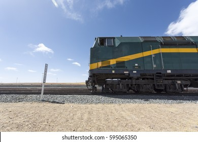 TIBET, CHINA - APRIL 15: View of the locomotive of the Shanghai - Lhasa train stopped in a train station in Tibet. China 2013.
