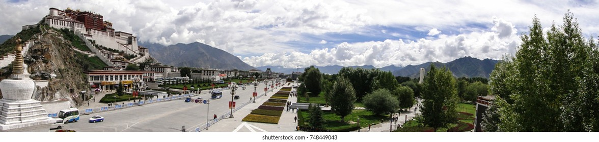 Tibet, China - Sep 6, 2010. Panorama of Potala Palace in Lhasa, Tibet Region. The palace was slightly damaged during the Tibetan uprising against the Chinese in 1959.