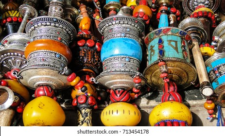 Tibet, China - Sep 7, 2012. Prayer wheels at flea market in Lhasa, Tibet. Lhasa is a prefecture-level city, one of the main administrative divisions of Tibet.