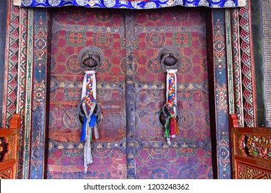Tibet, Lhasa. One of the entrances to the ancient temple Jokang