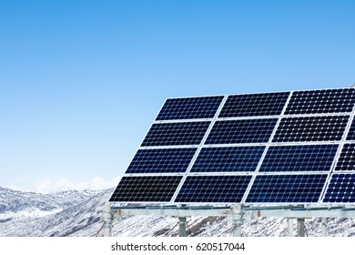 Tibet plateau of china,Solar energy on snow capped mountains