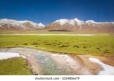 Tibet scenic view. Landscape of Tanggula mountain from Lhasa Xining train at Tibet travelling. Beautiful nature of snow mountain from Tibet route.